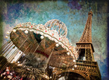 Fototapety Le carrousel de la tour Eiffel, vintage - Paris