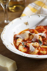 Potato gnocchi with tomato sauce and sage