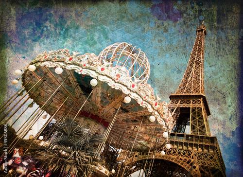 Le carrousel de la tour Eiffel, vintage - Paris