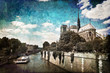 La Seine et Notre Dame vintage - Paris