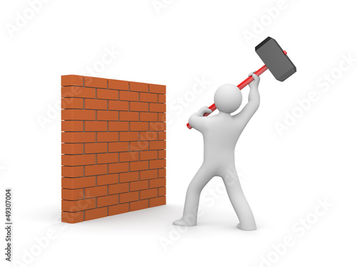 Man smashes wall