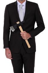 Businessman with an axe