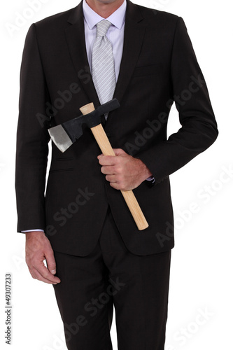 Businessman with an axe