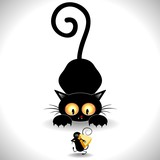 Cat Cartoon in Ambush-Gatto in Agguato e Topolino Clip Art poster