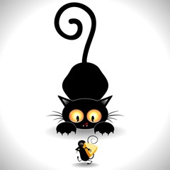 Cat Cartoon in Ambush-Gatto in Agguato e Topolino Clip Art