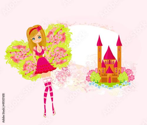 Papiers peints Chateau fairy flying above castle