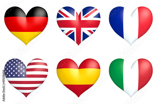 nation hearts Germany, Great Britain, France, USA, Spain, Italy