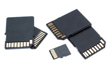 Group of different memory card storage. On a white background.
