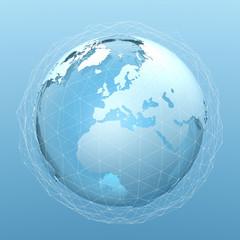 Erdball,  Internet und Netzwerk - 3D Illustration / Grafik