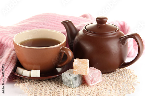 cup of tea with scarf isolated on white