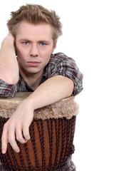 Man sat with bongo