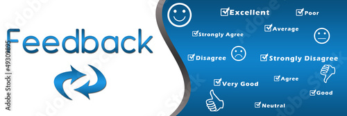 Feedback header with keywords - Blue