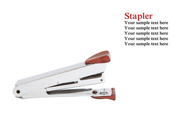 Metal stapler isolated on white with sample text