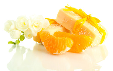 Natural fruit handmade soap, isolated on white