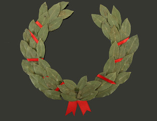 Laurel wreath on black background