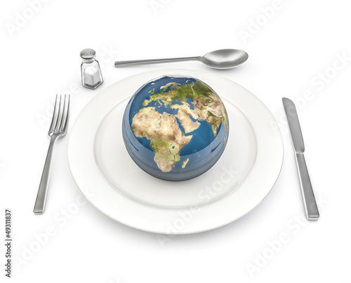 World food, Earth map texture source: cinema4dtutorial.net