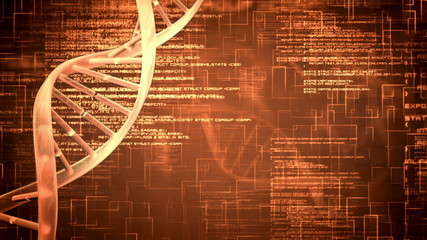 Orange DNA helix with flying text