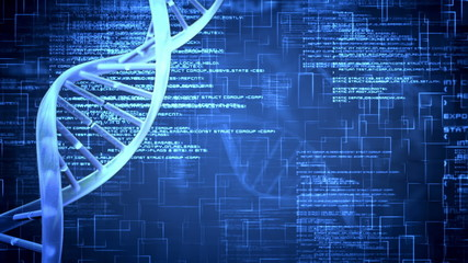 Blue DNA Helix with flying text