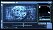 Digital interface featuring revolving brain in blue