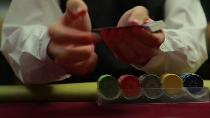Dealer quickly dealing cards