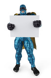 super hero blue and black holding a  board full body