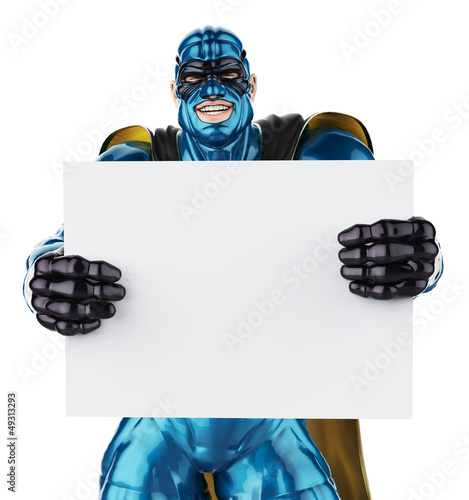 super hero blue and black holding a  board