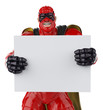 super hero red and black holding a  board