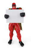 super hero red and black holding a  board full body
