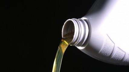 Oil flowing from bottle