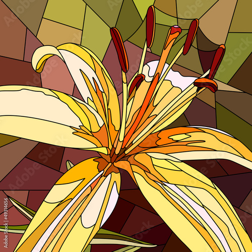 Vector illustration of flower yellow lily.