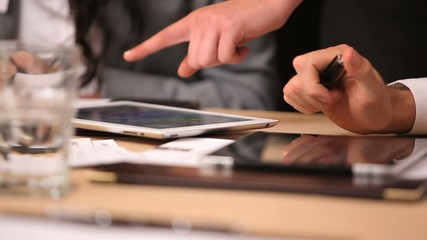 Close up of tablets on table