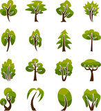 Stylized vector icons trees