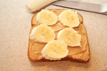Peanutbutter and Banana on Wheat Bread