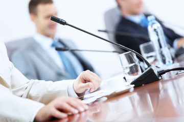 Microphone on table at conference