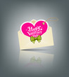 Envelope pink heart and green ribbon valentine day