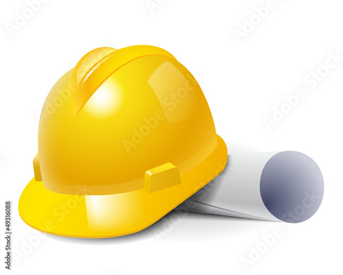 Yellow safety hard hat and drawings. Vector illustration