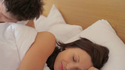 Couple going to bed for sleeping