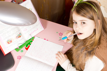 Young girl doing school work
