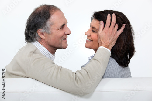 Man stroking his wife's head