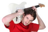 Rocker playing the electric guitar