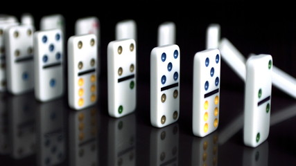 Line of dominoes collapsing
