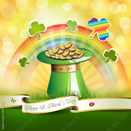 St. Patrick's Day card design with hat, clover and coins