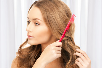 beautiful woman with comb