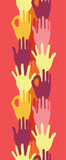 vector hands in the crowd vertical seamless pattern background