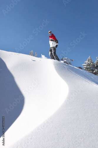 Snowboarder on piste