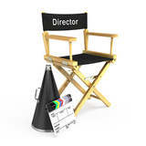 DIrector chair, clapper board and megaphone