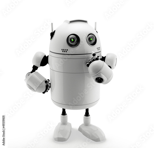 Robot standing in thinking pose.