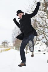Man on jump try hit phantom enemy