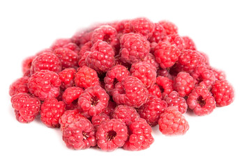 Red raspberries isolated on white