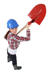 Female bricklayer
